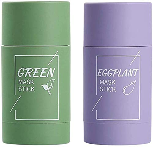 HHYSPA 2 Pcs Green Tea Purifying Clay Stick Mask Oil Control Anti-Acne Eggplant Solid Fine,Acne Clearing, Blackhead Remover, Improves Texture of The Skin (Green+Purple)