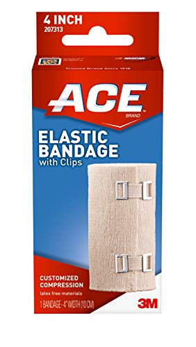 ACE 4 Inch Elastic Bandage with Clips, Beige, Ideal for Sports, Comfortable design with soft feel, Wash and Reuse