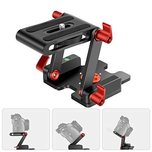 Neewer verbesserter Z Flex Neigekopf Z Stativkopf mit 4 Einstell-/Fixierknöpfen Schnellwechselplatte und Wasserwaage für Stativ-/DSLR-Kameras Camcorder Belastung bis zu 6,6 Pfund