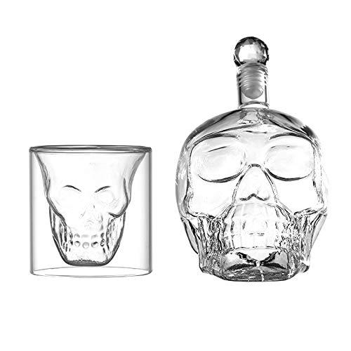 WSN Decantador de Calavera, Juego de Vasos de Whisky, Contiene Viene con 1 decantador de Calavera de 550 ml y 6 Vasos de Vino de 75 ml