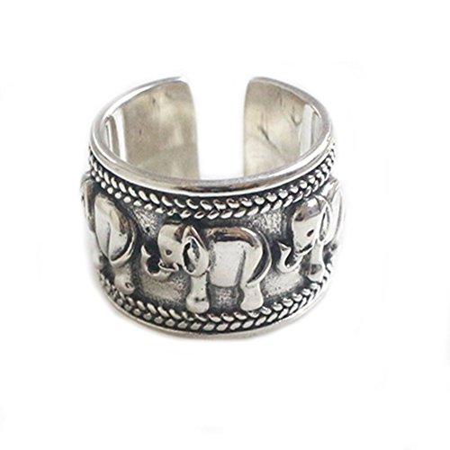 Helen de Lete Anillo ajustable de plata de ley S925 con elefante vintage