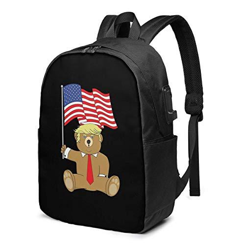 Lawenp President Trump Bear American Flag Patriotic 2020 Mochila para portátil con Puerto de Carga USB, Bolsa de Negocios, Mochila | Se Adapta a la mayoría de portátiles y tabletas de 17 Pulgadas