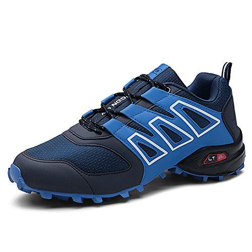KUXUAN Zapatillas de Ciclismo para Hombre - Zapatillas de Bicicleta de Carretera Zapatillas de Bicicleta de Montaña Zapatillas de MTB, Zapatos para Correr Casuales Antideslizantes,Blue-44