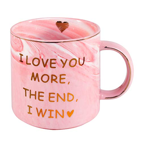 OEAGO Funny Gifts Mug for Girlfriend Women Wife. Funny Gifts 12 oz Marble Pink Coffee Mug,Christmas Valentine's Day Birthday Gift for Her Him Wife Print I Love You More The End I Win