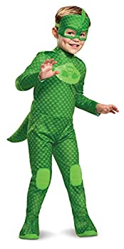 PJ Masks Gekko Costume Deluxe Kids Light Up Jumpsuit Outfit and Character Mask Toddler Size Extra Large  7-8  Green