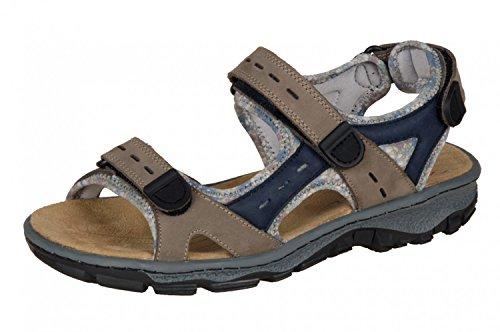 Rieker Damen Sandalen, Frauen Trekking Sandalen, Outdoor-Sandale Sport-Sandale aussensteg 3-Fach Klett,Braun(Brown),36 EU / 3.5 UK