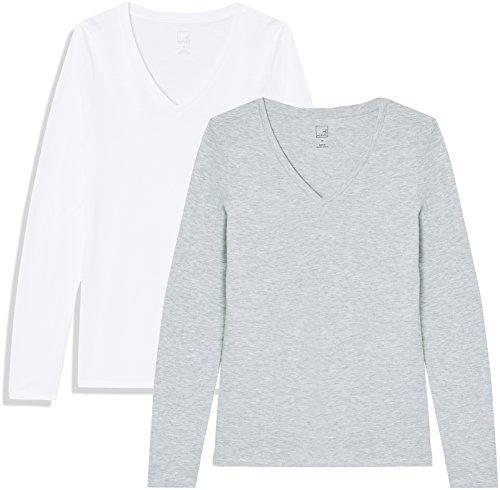 Marca Amazon - MERAKI Camiseta de Manga Larga y Cuello de Pico Mujer