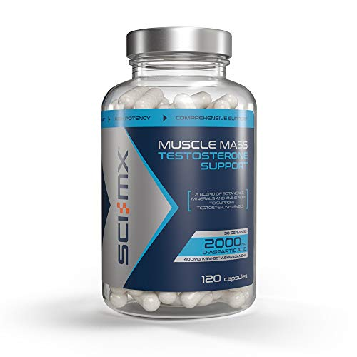 SCI-MX Muscle Mass Testosterone Support, Testosterone Support Capsules with Zinc, 120 Capsules