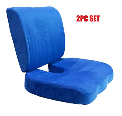Bookishbunny Set of 2: Seat Cushion Coccyx Orthopedic Memory Foam Lumbar Support Pillow Best Premium Cushions for Sciatica Pain Relief and Lower Back Pain Relief - Blue