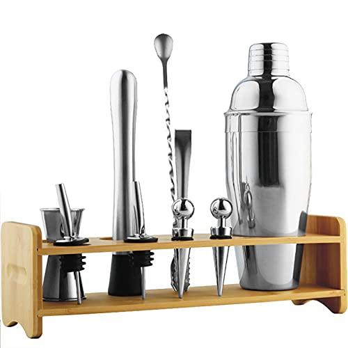 DUTUI Bartender Kit-Cocktail Bartender Set con Soporte De Bambú-Home Bar Mixing Tool Kit-Cocktail Bartender Set con Herramientas De Barman,Plata