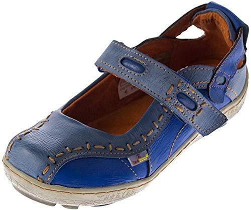 Damen Leder Ballerina Schuhe TMA EYES 1601 Sandalen Blau Gr. 36