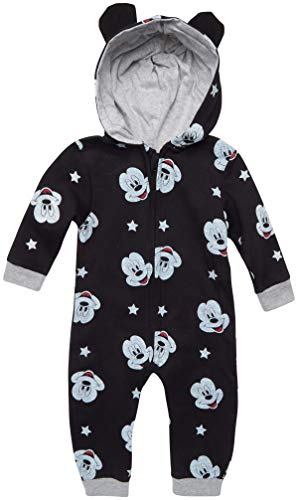 Disney Baby Boys' Pajamas - One Piece Plush Long Sleeve Hooded Sleep and Play Onesie Coveralls, Black/Mickey Mouse Faces, Size 18 Months