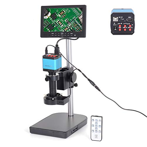 HAYEAR 14MP HDMI USB Digital Industry Microscope Camera 120X Zoon C-Mount Lens 8GB TF Card 7' inch HDMI LCD Monitor (120X Zoon C-Mount Lens)