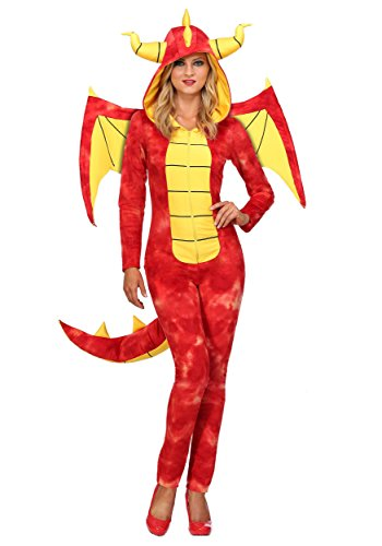Adult Dazzling Dragon Costume Women's Red Dragon Hooded Jumpsuit Costume Large