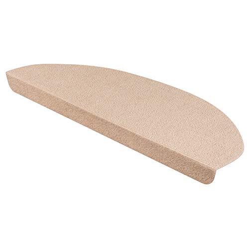 StickandShine Stufenmatte in Creme halbrund für Treppenstufen, Treppenstufenmatte zum aufkleben