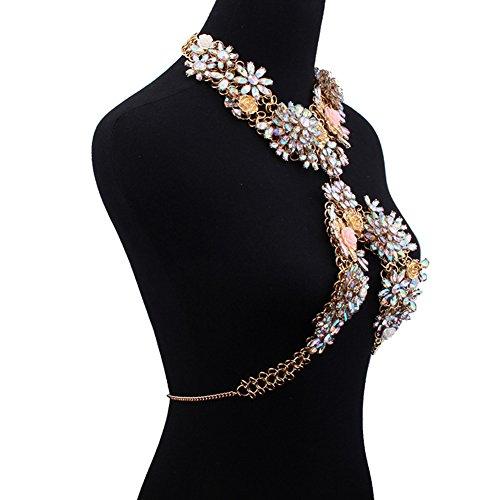 OMZBM Lujo Crystal Body Chain Sexy Flowers Pendant Choker Summer Beach Crossover Cintura Cadena Accesorios De La Joyería Para Las Mujeres
