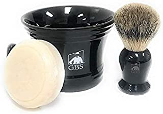 GBS Men's Classic Shaving Set - For Ultimate Old School Wet Shaving/Grooming Experience Pure Badger Brush, Ceramic Shaving Bowl/Mug + Natural Soap Compliments any Razor Tool To Shave & Shape Beard