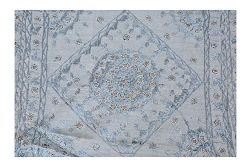Fantastic Deal! Kumkum Fashions Hand Embroidered 100% Cotton Bedspread with Mirror Work Blue Handmad...