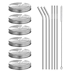 Wide Mouth Mason Jar Lids with Straws