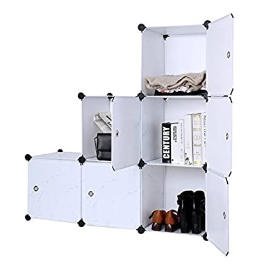 C&AHOME DIY Closet Organizer Media Storage Cabinet 6 Cube Toy Rack with Doors, marble color