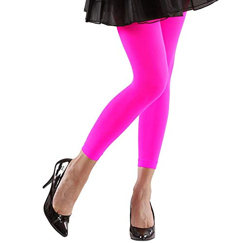 Widmann 20426 – Leggings, Neon Rosa, 70 DEN, Hose, Strumpfhose, Kostümzubehör, Accessoire, Hippie, 70er Jahre, Disco Outfit, Motto Party, Karneval