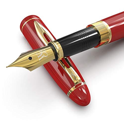 Wordsworth & Black Majesti Juego de pluma estilográfica, Punta Mediana, incluye 6 cartuchos de tinta, convertidor de recarga de tinta, estuche de regalo, caligrafía, escritura suave [Oro Rojo]