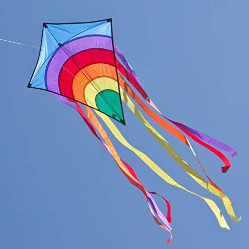 CIM Kinder-Drachen - Rainbow Eddy BLUE - Einleiner-Flugdrachen für Kinder ab 3 Jahren - 65x72cm -...