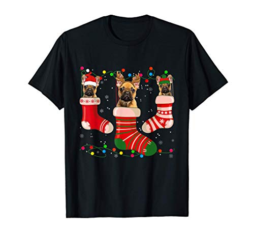 Fun French Bulldog Stocking Christmas Light Socks Xmas T-Shirt
