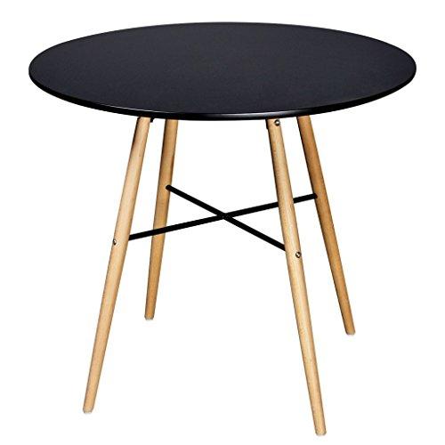 XingliEU Deze ronde eettafel in mat zwart heeft een totale grootte van 80 x 72 cm (Ø x H); deze tafel creëert een comfortabele eetkamer.