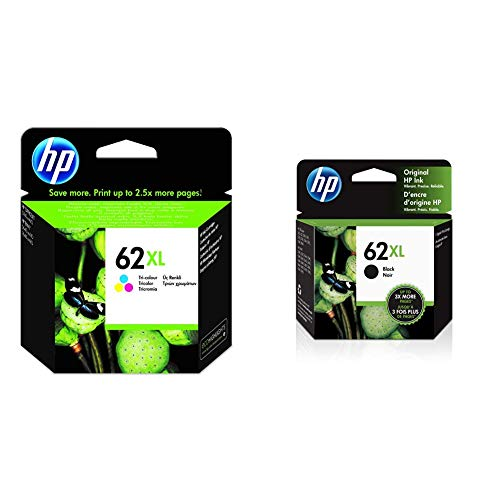 HP 62XL C2P07AE, Tricolor, Cartucho de Tinta de Alta Capacidad Original + C2P05AN Cartucho de Tinta, Negro