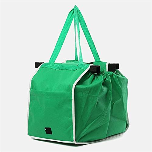 appendiabiti 35 cm LQMM 2PCS Eco-Friendly supermercato Addensare Carrello Pieghevole Pieghevole Reusable Shop Borsa Carrello Portatile Supermercato Borse 621 (Color : Green