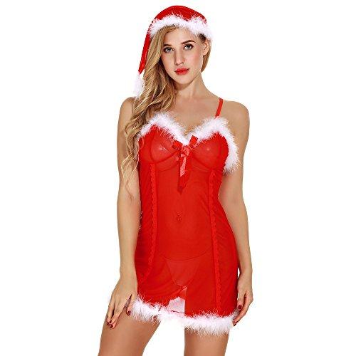 Pageantry Erotik Dessous Damen Sexy Dessous Cosplay Reizwäsche Reizvolle Lingerie Bikini Weihnachten Dessous-Sets Ärmellos Patchwork Anzug BH Und Unterhose Dessous Outfit (L, Rot D)