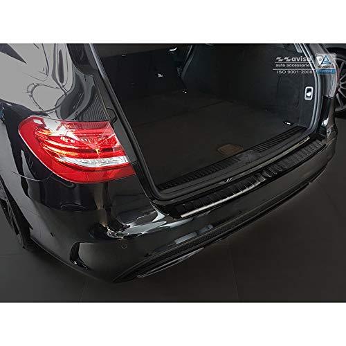 Avisa 2/45117 Protection de seuil arrière INOX Noir sur Mesure pour Mercedes Classe-C W205 Kombi 2014- 'Ribs'