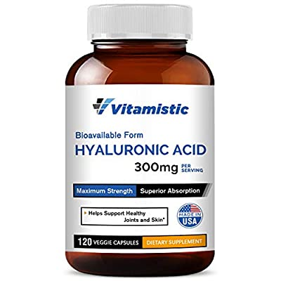Vitamistic Hyaluronic Acid 300mg 120 Veggie Capsules, Pure and Natural, Bioavailable Form for Enhanced Absorption, Non-GMO, Gluten Dairy Soy Free, Supports Joint Lubrication and Skin Hydration