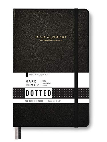 "Minimalism Art, Premium Hard Cover Notebook Journal, Dotted Grid Page, 122 Numbered Pages, Gusseted Pocket, Ribbon Bookmark, Extra Thick Ink-Proof Paper 120gsm, Classic 5"" x 8.3"" (Small, Black)"
