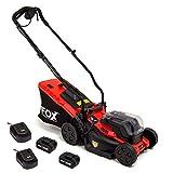 Fox Cordless 34cm Lawn Mower 40v Electric + 2x 20v Li-ion Batteries 4Ah