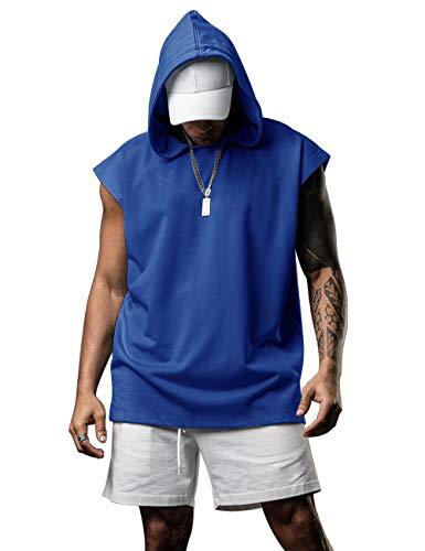 Men Workout Tank Tops with Hood Gym T-Shirt Boxing Sleeveless Hoodie Men Blue