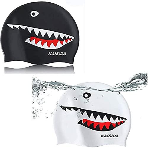 KAISIDA Pack de 2 gorro de natación de silicona, gorro de baño para mantener tu cabello seco y ajuste para hombres y mujeres adultos jóvenes