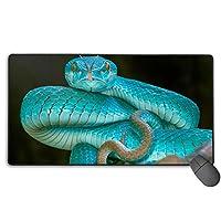 青いヘビ バイパー 目 マウスパッド 大型 ゲーミングマウスパッド キーボードパッド 防水マウスパッド 拡張マウスパッド 滑り止め ゲーム向け オフィス おしゃれ 750*400*3mm