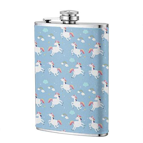 Petaca de acero inoxidable con diseño de unicornio azul arcoíris de 8 onzas a prueba de fugas para whisky con envoltura de cuero para viajes, camping, botella de vino, bandera