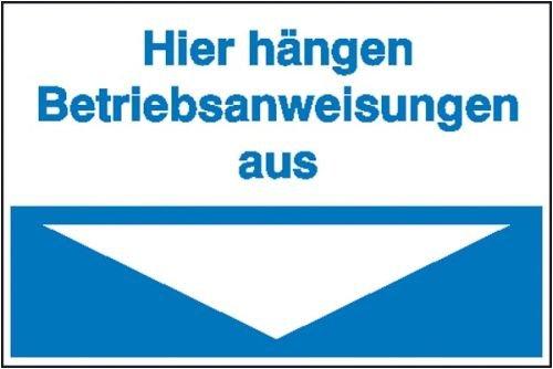2508. Hinweisschild Hier hängen die Betriebsanweisungen aus (blau) Kunststoff [Hart-PVC], witterungsbeständig Größe 30,00 cm x 20,00 cm