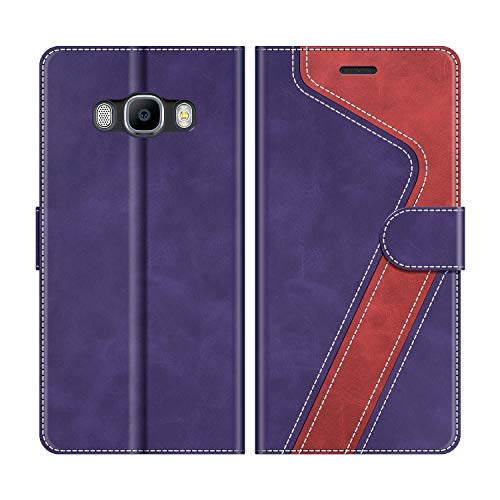 MOBESV Custodia Samsung Galaxy J5 2016, Cover a Libro Samsung Galaxy J5 2016, Custodia in Pelle Samsung Galaxy J5 2016 Magnetica Cover per Samsung Galaxy J5 2016, Viola/Rosso