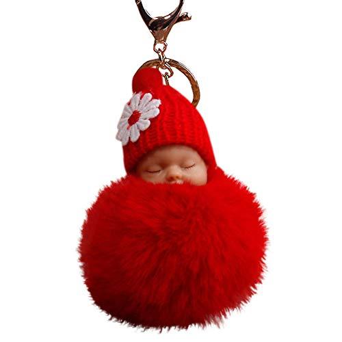 bobvc sleutelhanger schattig bont pluizige pompon slapende baby pop sleutelhangers sleutelhangers tassen bedelhanger 10.8