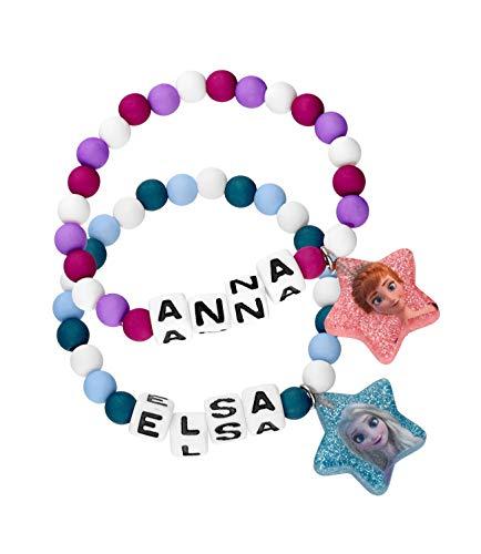 SIX Kids Armschmuck im Set mit Frozen-Motiven, Anna- und ELSA-Druck, Zierperlen, Herzen und Glitzer-Details (294-974)