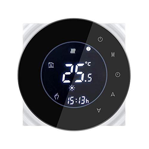 SDRFSWE thermostaat, wifi, elektrische verwarming, touchscreen, LCD-thermostaat, programmeerbaar, met afstandsbediening, werkt met Alexa Google Home, zwart