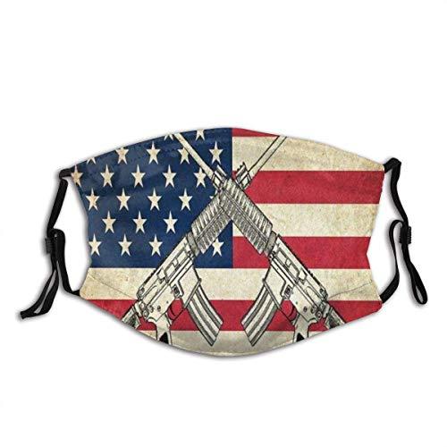 Mundschutz Flagge von USA mit Waffen Waschbare und Wiederverwendbare Gesichtsbedeckung mit Filter