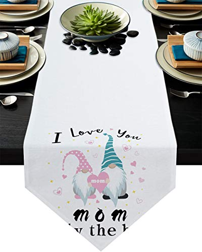 Mother's Day Gnomes Table Runner Dresser Scarves,Linen Burlap Tablecloths for Dining, Farmhouse Kitchen Bedroom Coffee/End Table, Home Decoration I Love You Mom Only The Best 13x120in