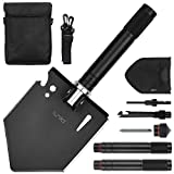 iunio Folding Shovel, Camping Multitool, Foldable Entrenching Tool, Portable Collapsible Spade, with Carrying Pouch, for Hiking, Backpacking, Survival, Car Emergency