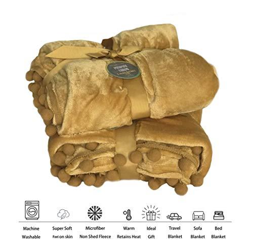 KLAZE Manta de forro polar supersuave, cálida y suave para sofá cama, no se desprende, manta de viaje, tamaño 150 cm x 200 cm., poliéster Poliéster. polar, amarillo mostaza, 150 cm x 200 cm