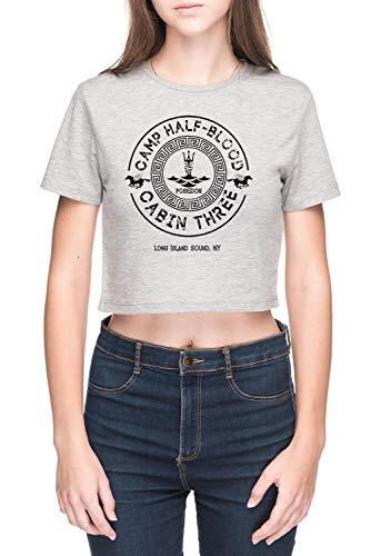 Percy Jackson - Camp Half-Blood - Cabin Three - Poseidon Damen Crop T-Shirt Grau